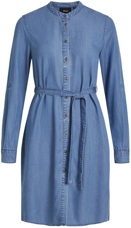 Objlanie l/s shirt dress pb8 Medium blue denim