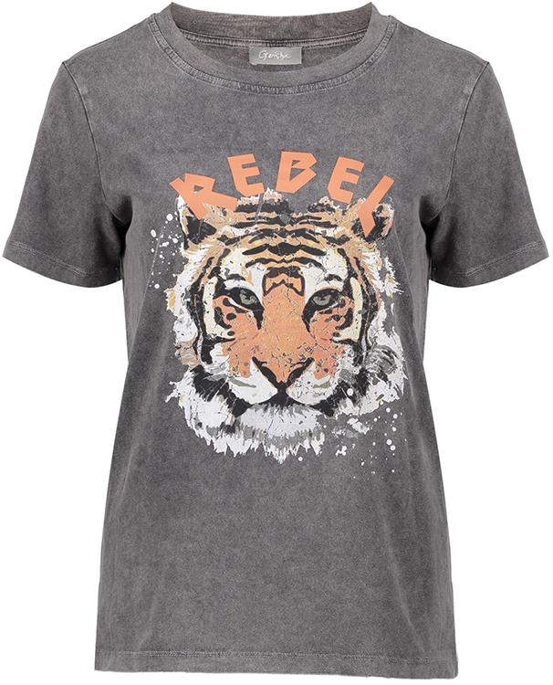 "Geisha T-shirt ""rebel"" with tiger s/s Grey"