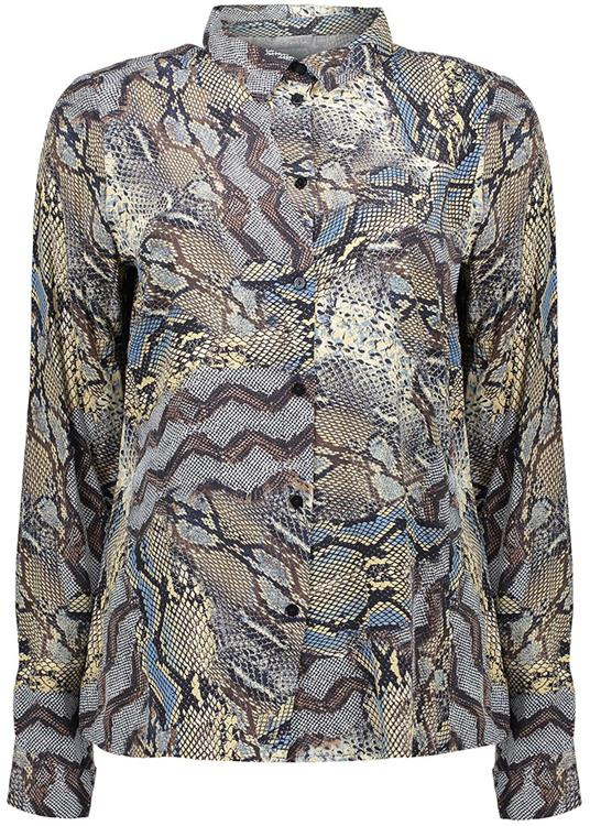 Geisha Blouse AOP snake black/brown combi