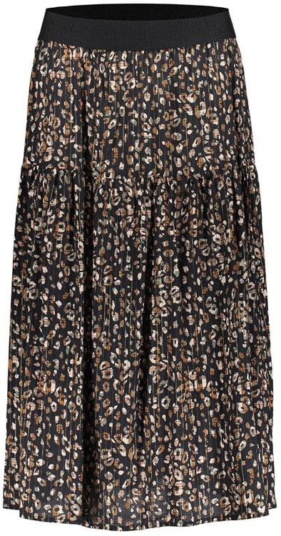 Geisha Skirt AOP leopard with lurex black/army combi