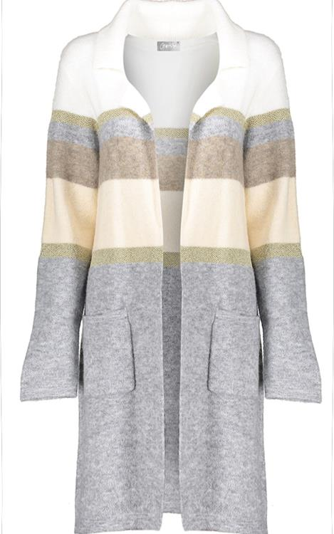Geisha vest long striped Camel/grey/combi