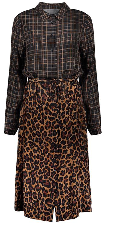 Geisha dress long with check and leopard Black/camel combi