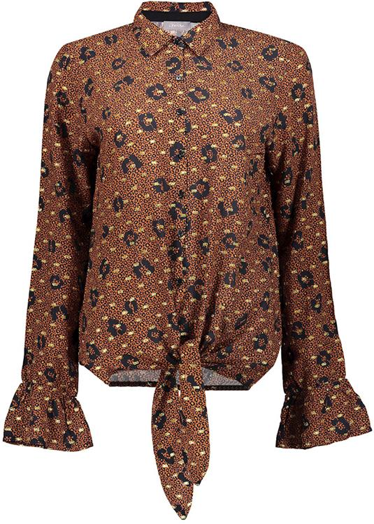 Geisha blouse knot, leopard lurex Tabacco/gold