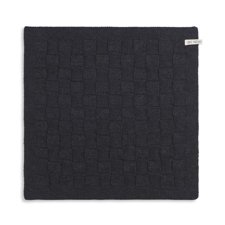 Knit Factory Keukendoek Uni - antraciet