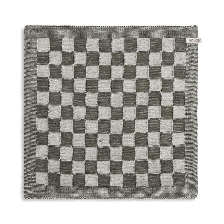 Knit Factory Keukendoek Block - ecru/khaki