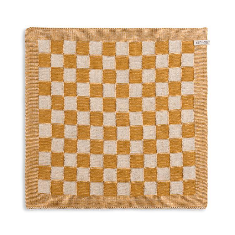 Knit Factory Keukendoek Block - ecru/oker