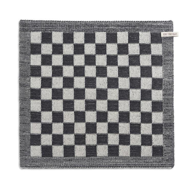 Knit Factory Keukendoek Block - ecru/antraciet