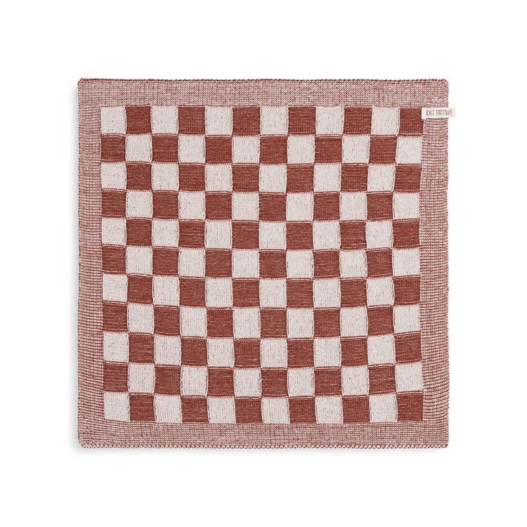 Knit Factory Keukendoek Block - ecru/roest