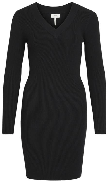 Objfae thess  l/s  rib knit dress Black
