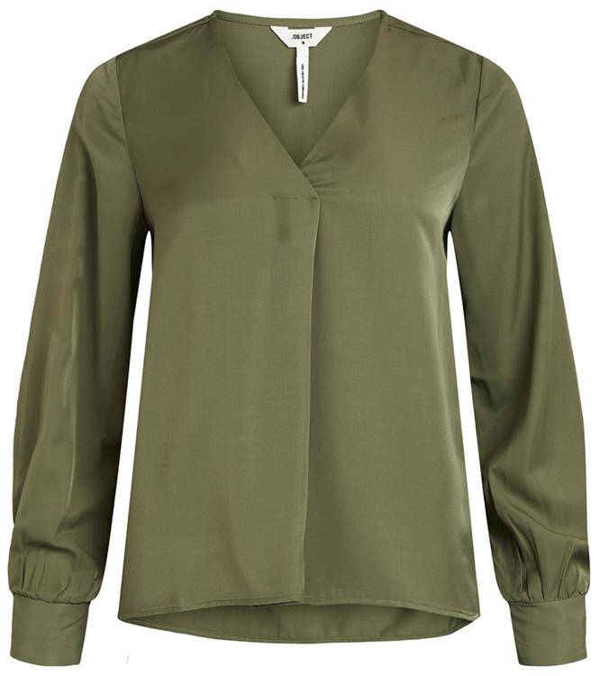Objeileen l/s v-neck top  Burnt Olive
