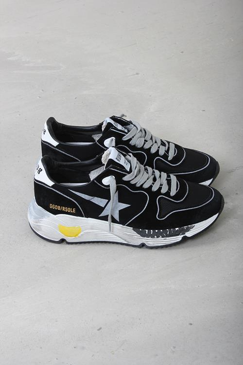 Golden Goose sneaker running sole black lycra silver star