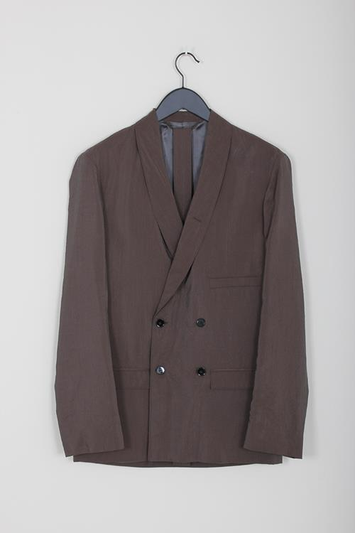 Lemaire belted jacket dark brown dry silk