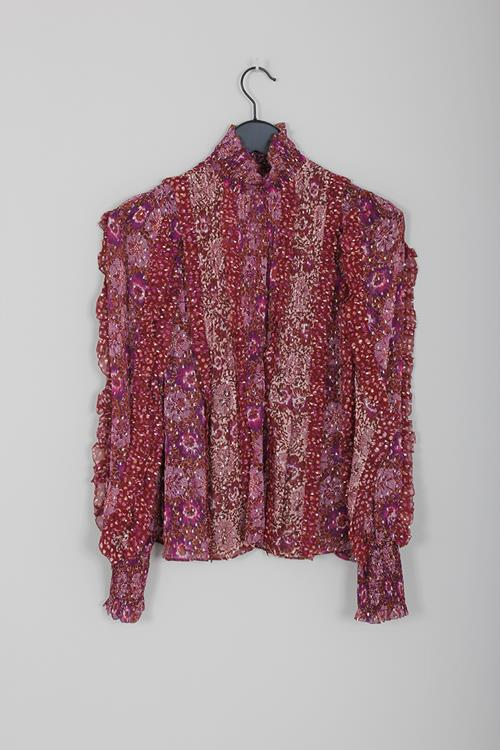 Ulla Johnson elita blouse claret patchwork
