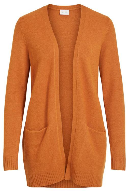 Viril open l/s knit cardigan Pumpkin