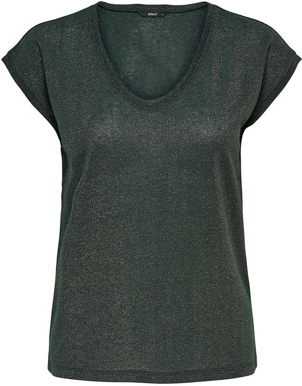 Onlsilvery s/s v-neck lurex top Green gables