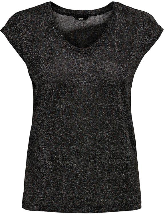 Onlsilvery s/s v-neck lurex top Black