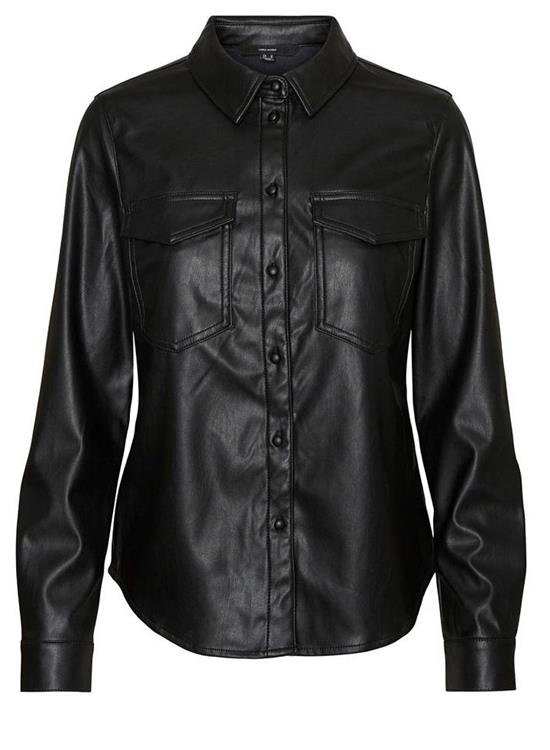 Vmgwen ls pu pocket shirt Black