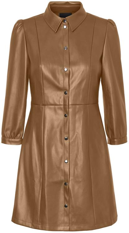 Vmbuttermolly above knee coated dress tobacco brown
