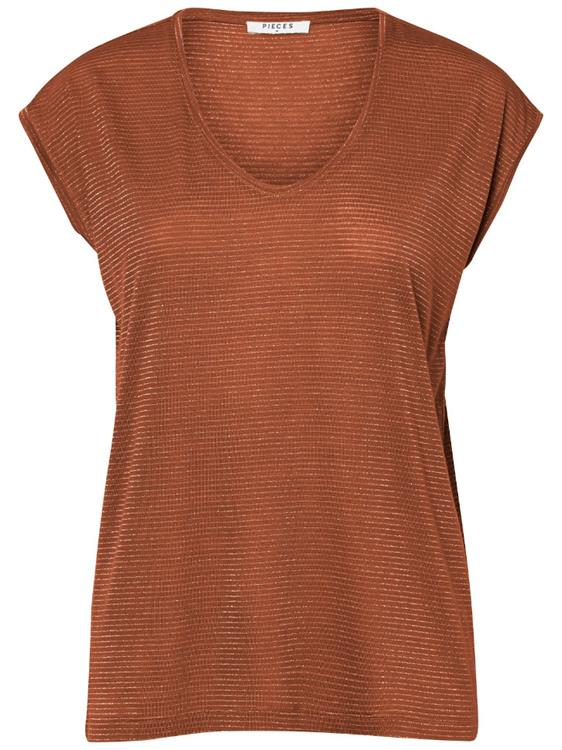 PCBILLO TEE LUREX STRIPES NOOS Mocha Bisque