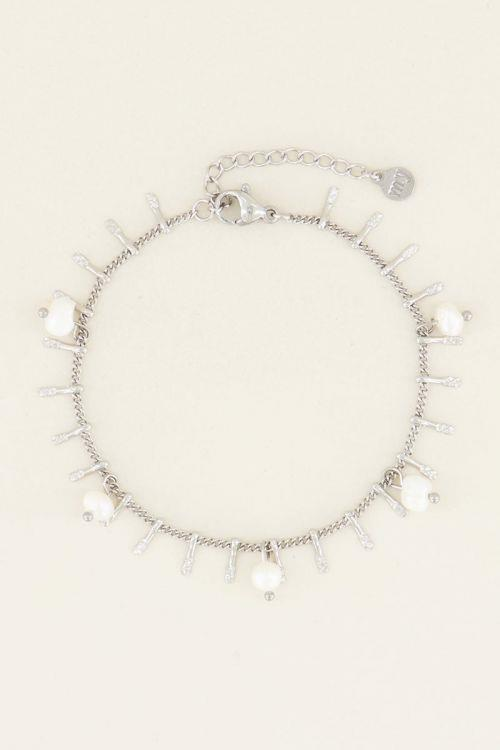 My Jewellery bracelet with bars & pearls silver.