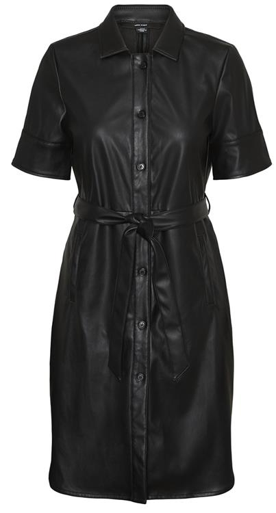 VMGWEN SS PU SHIRT DRESS black