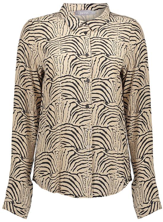 Geisha top aop zebra bi-color Sand/Black combi
