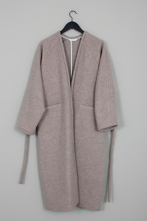 KASSL coat v wrap below wool beige