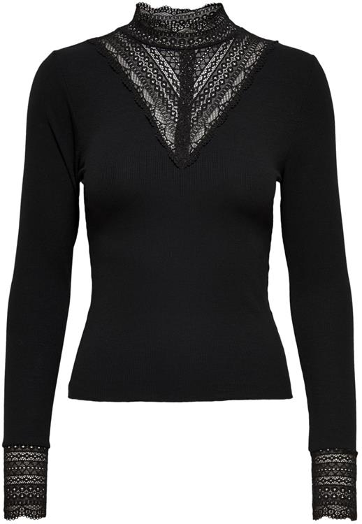 Onltilde l/s high neck lace top jrs black