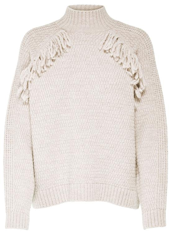 Onqgiselle fringe pullover knt cloud dancer