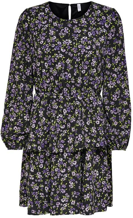ONLTENNA LS LAYERED DRESS WVN Black PURPLE FLOWER