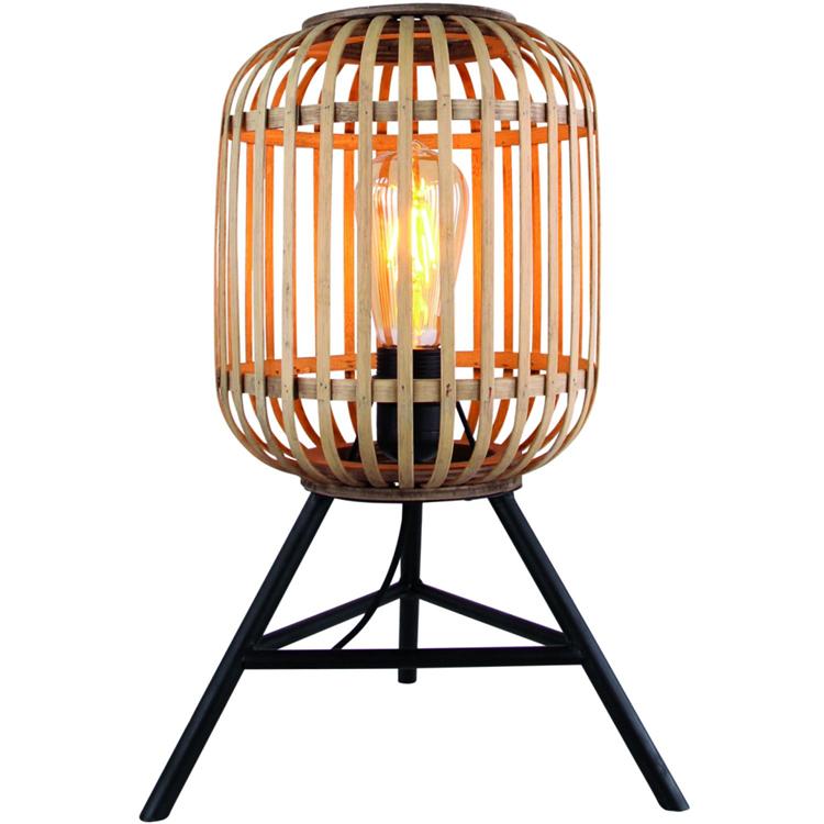 Freelight Tafellamp Malacca - rotan en mat zwart