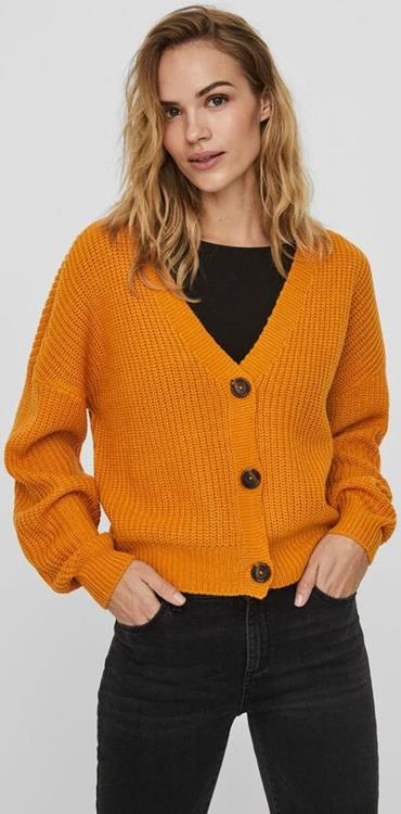 Vmlea ls v-neck cardigan pi Sunflower