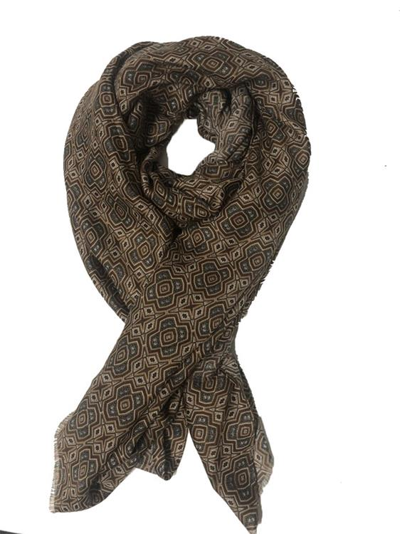 B-fashion scarf multicolour block print Brown