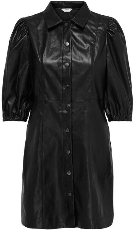 Onlrilla puff faux leather dress Black