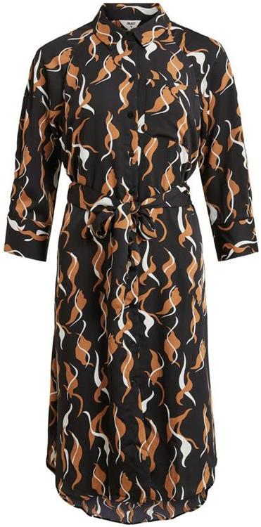 Objhelena 7/8 shirt dress Black/abstract leaves