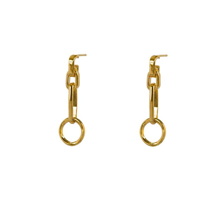 Wouters & Hendrix long stud earrings chains and circle