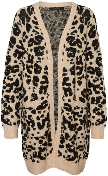 Vmemma ls jacquard coatigan Tan/w. black spots