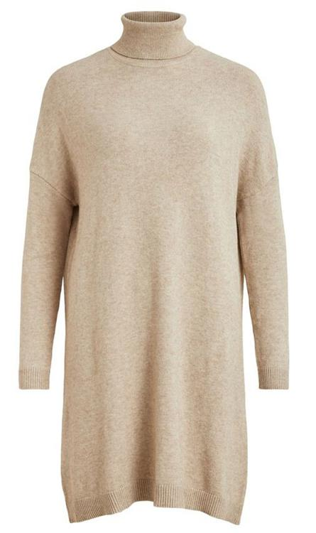 Viril rollneck l/s knit tunic Natural melange