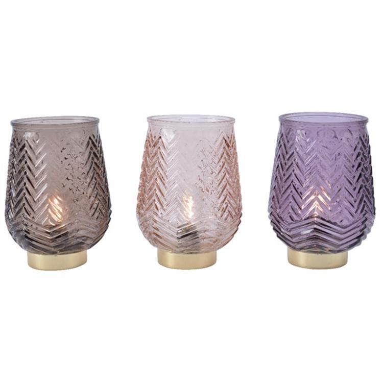 LED lantaarn glas met gouden rand - 14x14x20 cm