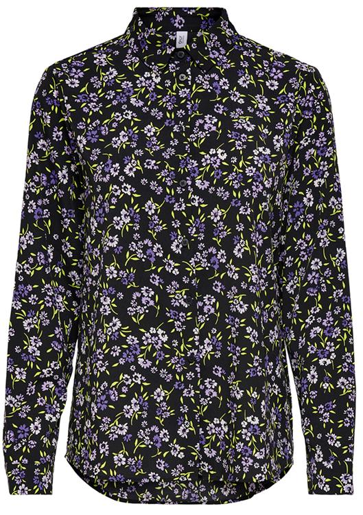 Onltenna ls shirt Black/Purple flower