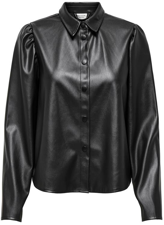 Jdyvera faux leather shirt otw sie Black