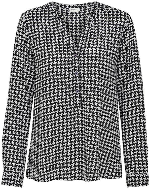 Jdytrack l/s aop placket shirt wvn Cloud dancer/black houndstooth