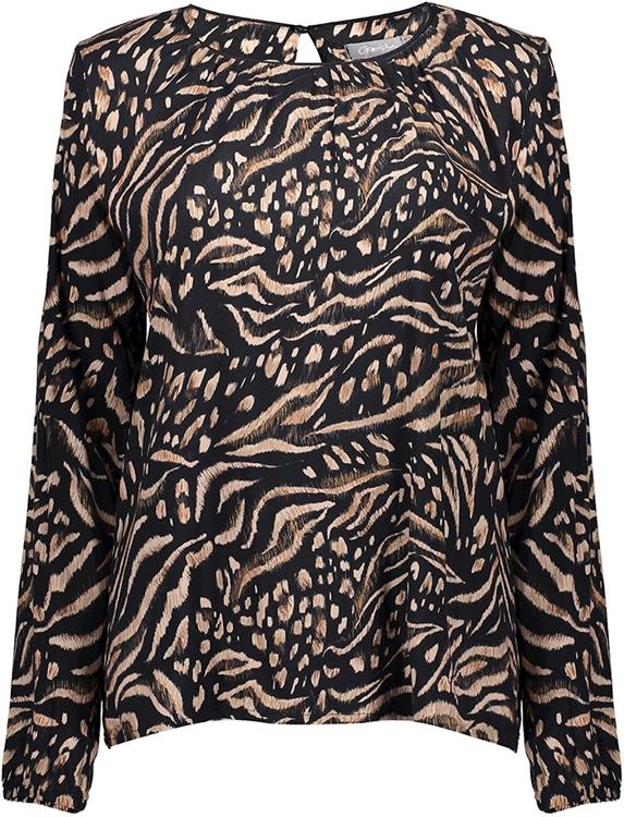 Geisha top animal print round neck Black