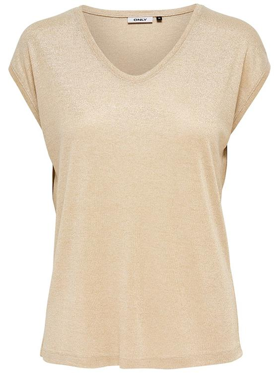 Onlsilvery s/s v-neck lurex top Gold Colour