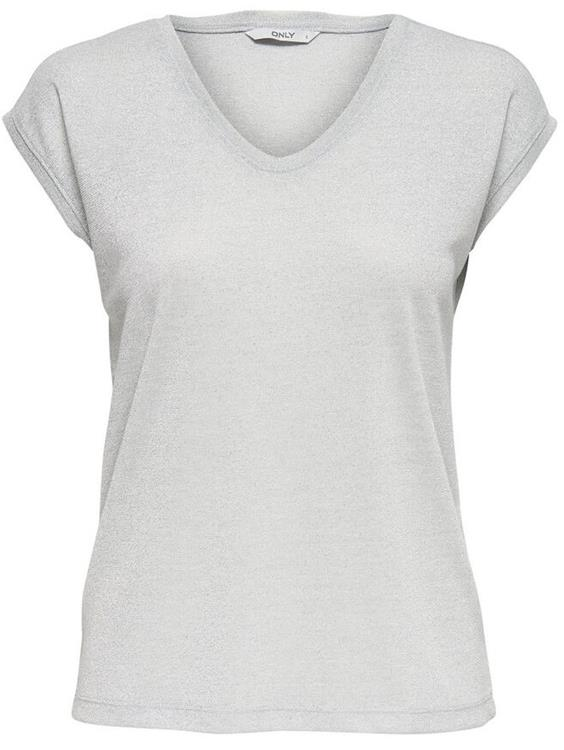 Onlsilvery s/s v-neck lurex top Silver