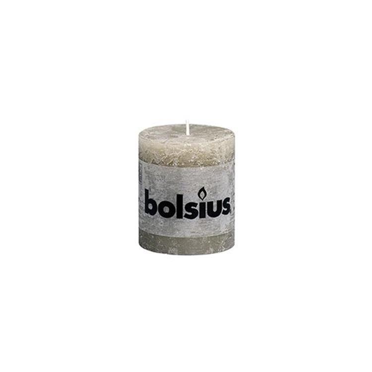 Bolsius stompkaars rustiek 8x6,8 cm - kiezelgrijs