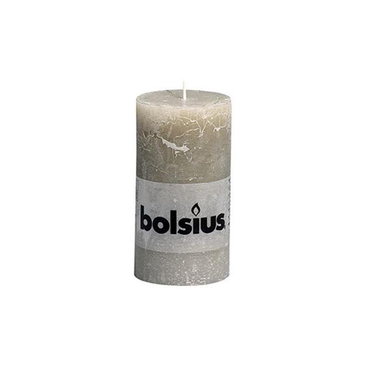 Bolsius stompkaars rustiek 13x6,8 cm - kiezelgrijs
