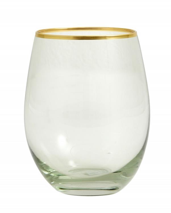 Nordal Greena drinkglas met gouden rand