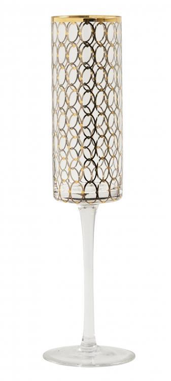 Nordal Circle champagneglas met goud dessin