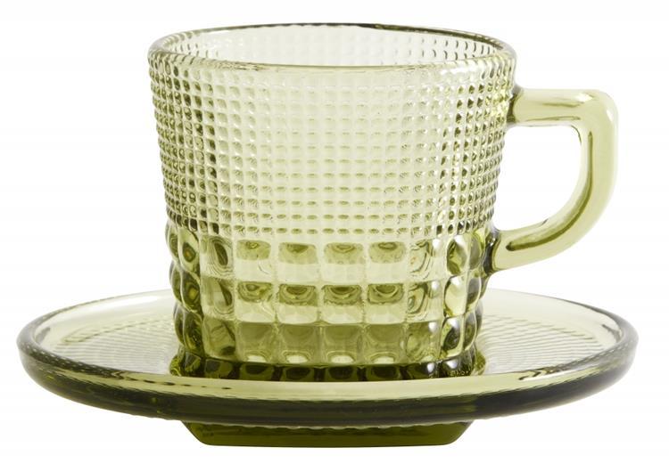 Nordal glazen kop + schotel - lichtgroen